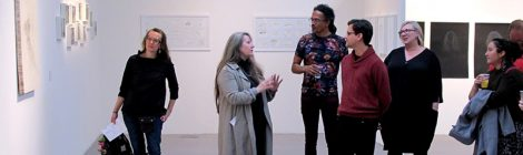 Prof Anita Taylor talks to a group of MA Drawing graduates